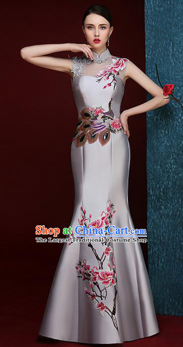 Chinese Traditional Compere Full Dress Embroidered Mangnolia Grey Cheongsam Chorus Costume for Women