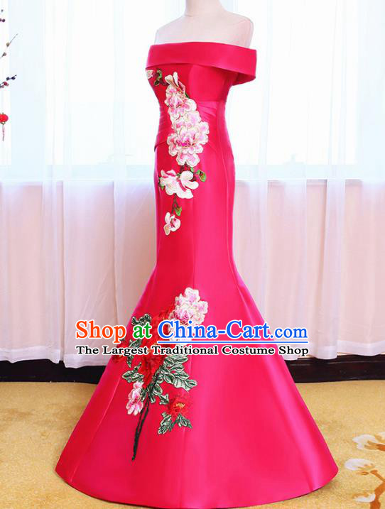 Chinese Traditional Embroidered Peony Off Shoulder Rosy Full Dress Compere Chorus Costume for Women