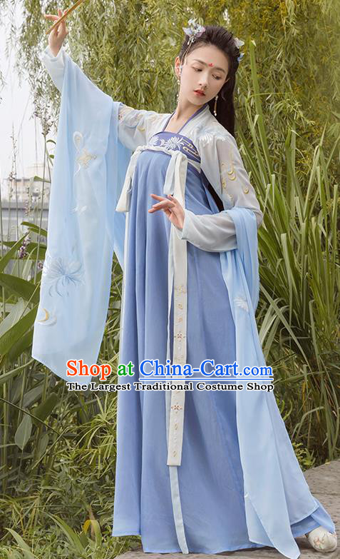 Chinese Traditional Tang Dynasty Princess Costume Ancient Embroidered Hanfu Dress for Rich Women