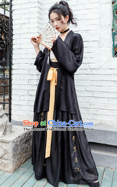 Chinese Traditional Song Dynasty Black Costume Ancient Young Lady Embroidered Hanfu Dress for Women