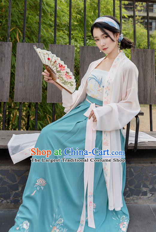 Chinese Traditional Song Dynasty Costume Ancient Young Lady Embroidered Hanfu Dress for Women