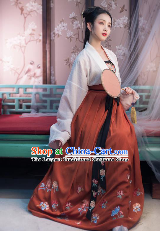 Traditional Chinese Tang Dynasty Princess Costumes Ancient Young Lady Embroidered Hanfu Dress for Women