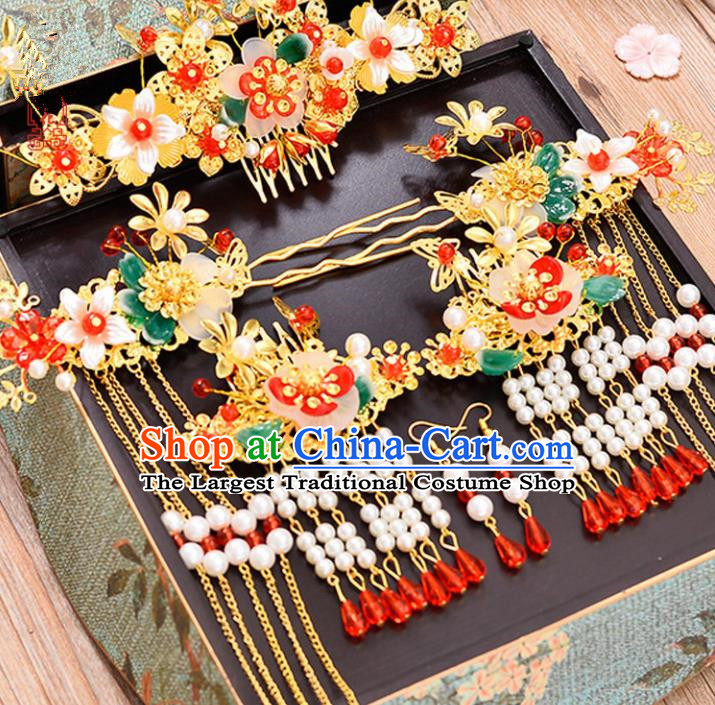 Chinese Traditional Hair Accessories Ancient Hanfu Butterfly Hair Comb Hairpins Complete Set for Women