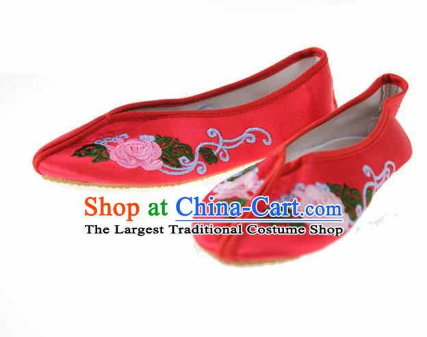 Asian Chinese Ancient Red Hanfu Shoes Traditional Embroidered Shoes for Kids