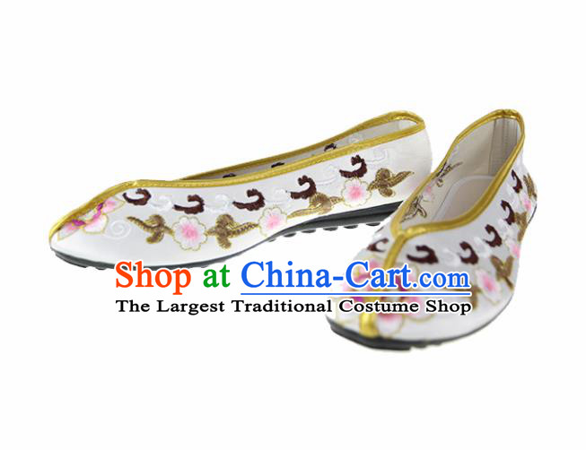 Asian Chinese Traditional White Blood Stained Shoes Ancient Embroidered Shoes for Women