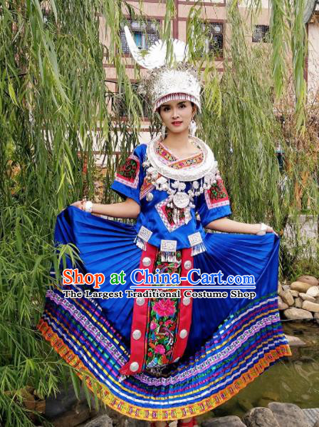 Chinese Traditional Miao Nationality Costume Hmong Bride Embroidered Blue Dress and Headpiece for Women
