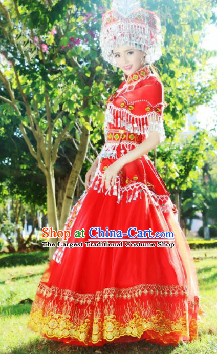 Chinese Traditional Miao Nationality Dance Wedding Embroidered Red Costumes and Headpiece for Women