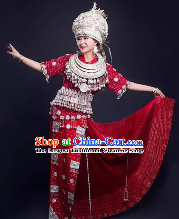 Traditional Chinese Miao Minority Wedding Costumes Embroidered Red Dress and Headwear for Women