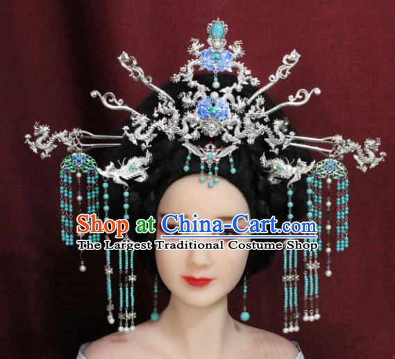 Chinese Ancient Queen Hair Accessories Empress Phoenix Coronet Hairpins for Women