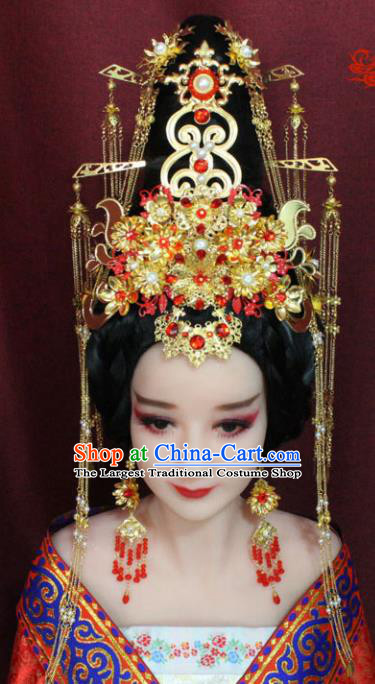 Chinese Ancient Princess Consort Hair Accessories Tang Dynasty Queen Phoenix Coronet Hairpins for Women