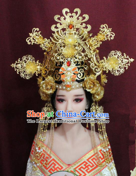 Chinese Ancient Queen Hair Accessories Tang Dynasty Empress Phoenix Coronet Hairpins for Women
