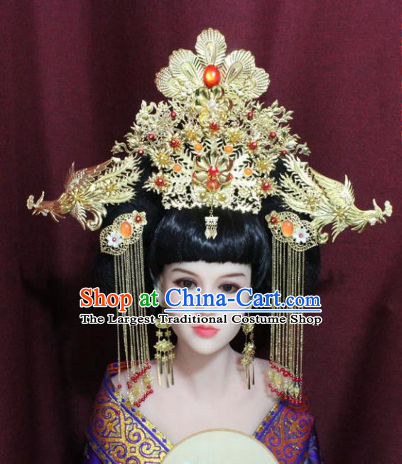 Chinese Ancient Palace Hair Accessories Handmade Han Dynasty Queen Phoenix Coronet Hairpins for Women