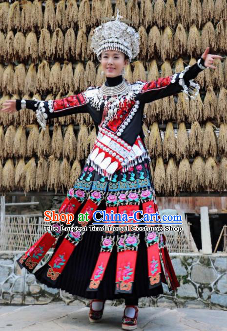 Chinese Traditional Miao Minority Dance Embroidered Black Costumes and Jewelry Accessories Complete Set for Women