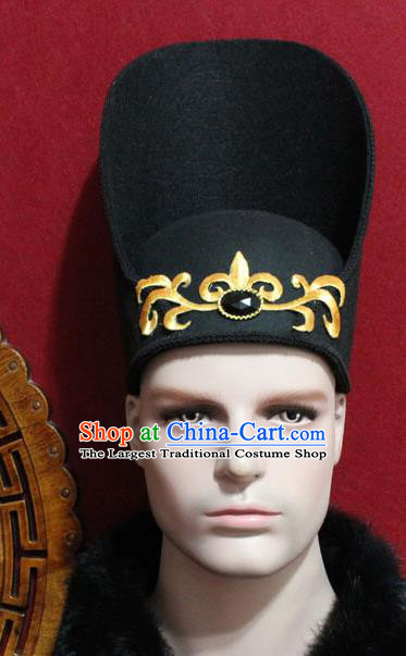 Chinese Traditional Prince Hair Accessories Ancient Tang Dynasty Chancellor Black Hat for Men