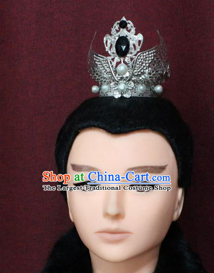 Chinese Traditional Royal Highness Hair Accessories Ancient Han Dynasty Prince Pearls Hairdo Crown for Men