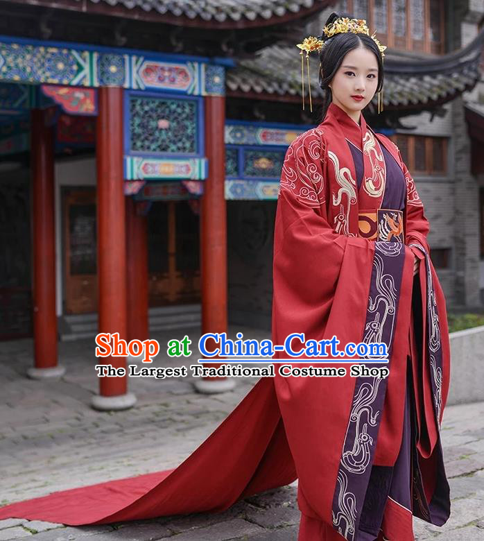 Chinese Ancient Zhou Dynasty Empress Embroidered Wedding Costumes Complete Set for Women