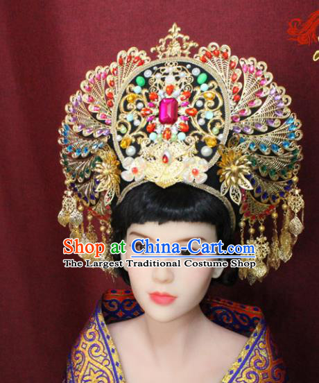 Chinese Handmade Tang Dynasty Imperial Consort Phoenix Coronet Ancient Court Hair Accessories Hats for Women