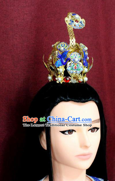Chinese Traditional Tang Dynasty Swordsman Cloisonne Hairdo Crown Ancient Prince Hair Accessories for Men
