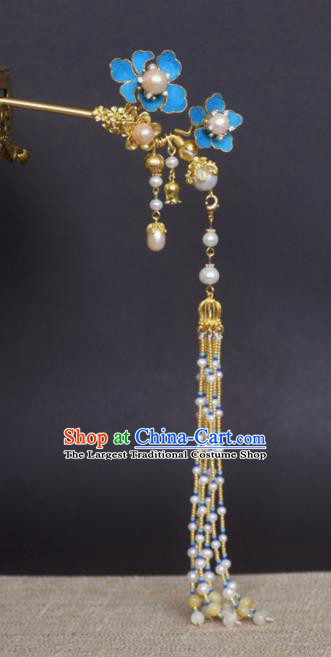 Chinese Handmade Princess Hanfu Pearls Tassel Hair Clip Hairpins Ancient Hair Accessories for Women