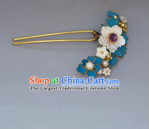 Chinese Ancient Qing Dynasty Handmade Hair Accessories Shell Flower Hairpins for Women