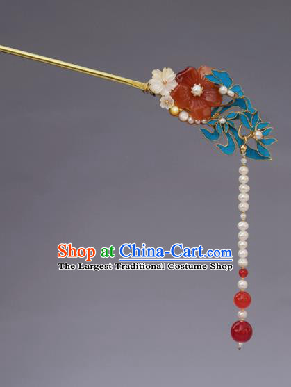 Chinese Ancient Qing Dynasty Handmade Hair Accessories Pearls Tassel Hairpins for Women