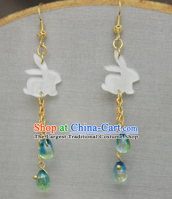Asian Chinese Traditional Jewelry Accessories Shell Rabbit Earrings for Women
