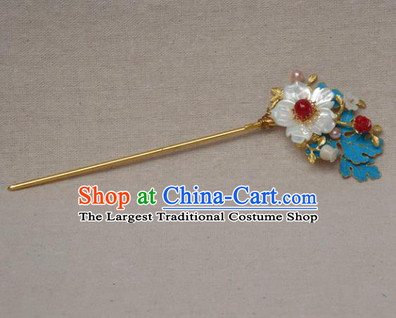 Chinese Ancient Qing Dynasty Princess Shell Hairpins Hair Accessories Handmade Hanfu Hair Clip for Women