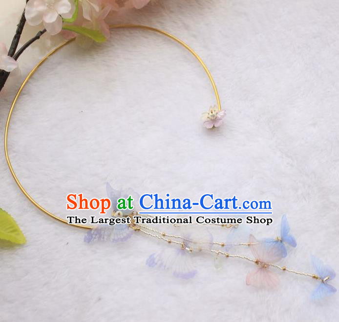 Asian Chinese Traditional Jewelry Accessories Hanfu Butterfly Necklace for Women