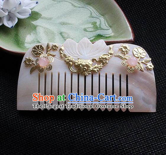 Chinese Ancient Hair Accessories Classical Shell Hair Comb Hanfu Handmade Hairpins for Women