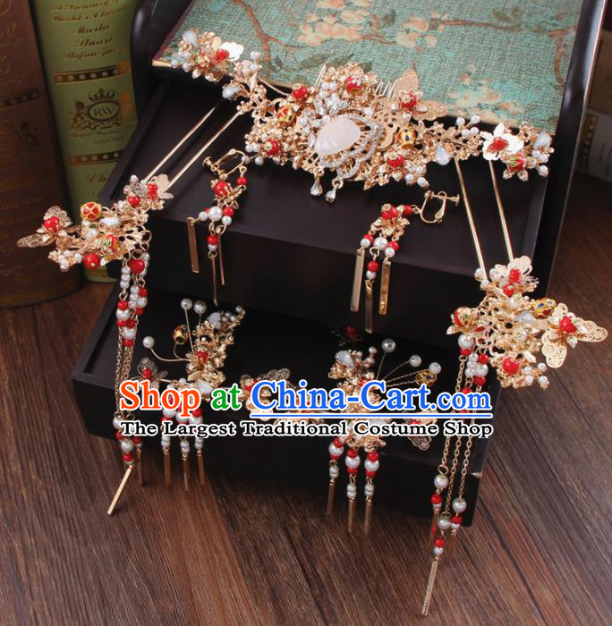 Chinese Ancient Bride Hair Accessories Classical Crystal Hair Comb Hanfu Handmade Hairpins for Women