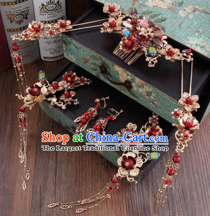 Chinese Ancient Bride Hair Accessories XiuHe Suit Hair Comb Hanfu Handmade Hairpins for Women