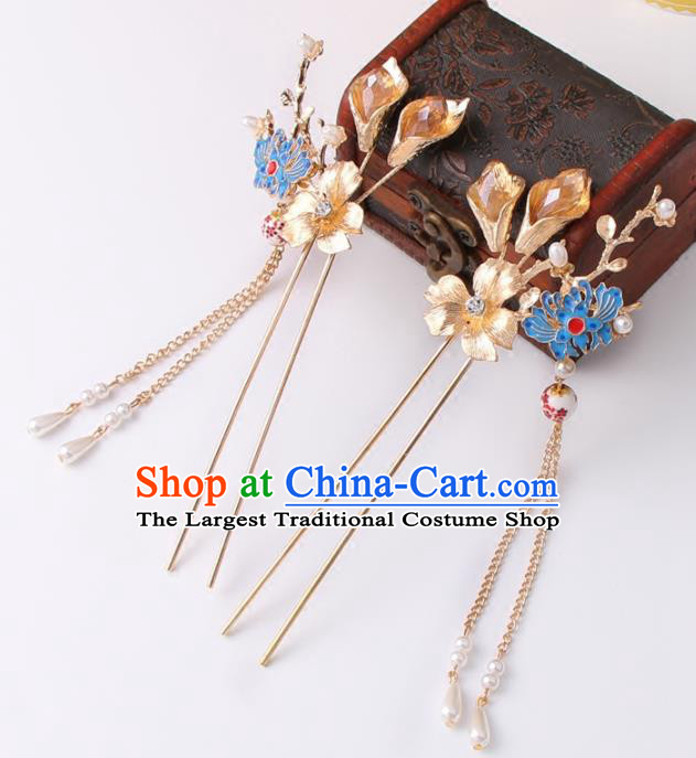 Chinese Ancient Bride Cloisonne Lotus Hair Clip XiuHe Suit Hair Accessories Hanfu Handmade Hairpins for Women