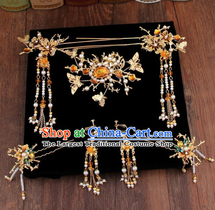 Chinese Handmade Ancient Hair Accessories Bride XiuHe Suit Hair Combs Hanfu Hairpins for Women