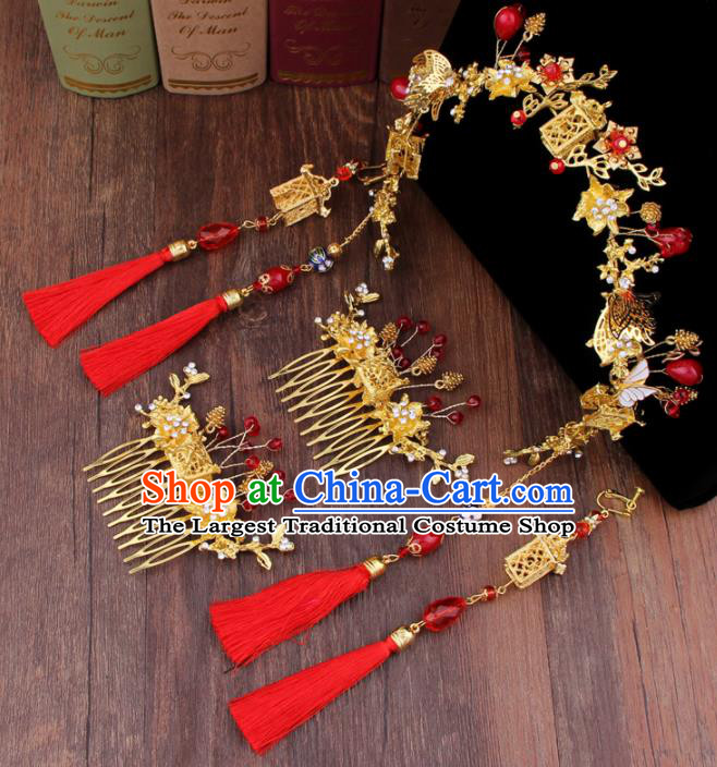 Chinese Handmade Ancient Hair Accessories Bride XiuHe Suit Tassel Hair Clasp Hanfu Hairpins for Women