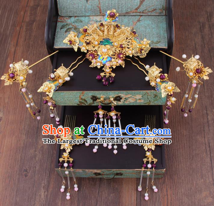 Chinese Handmade Ancient Hanfu Hair Accessories Bride XiuHe Suit Hair Comb Hairpins for Women