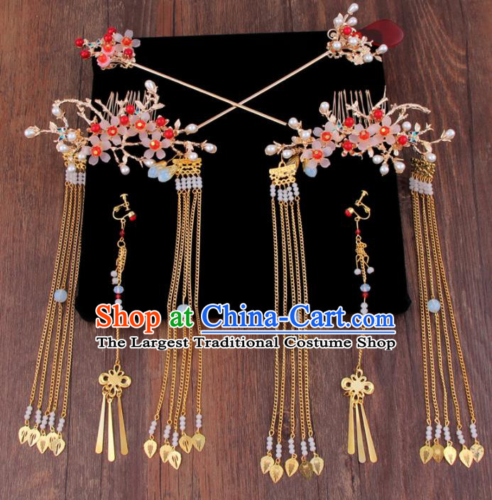 Chinese Handmade Ancient XiuHe Suit Hair Accessories Bride Hair Combs Hairpins for Women