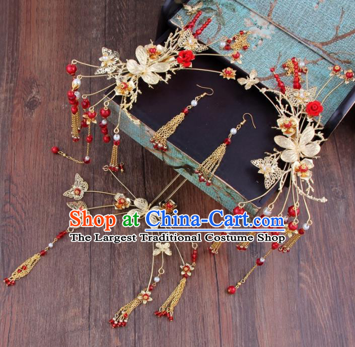 Chinese Ancient Bride Hair Clasp XiuHe Suit Hair Accessories Hanfu Handmade Hairpins for Women