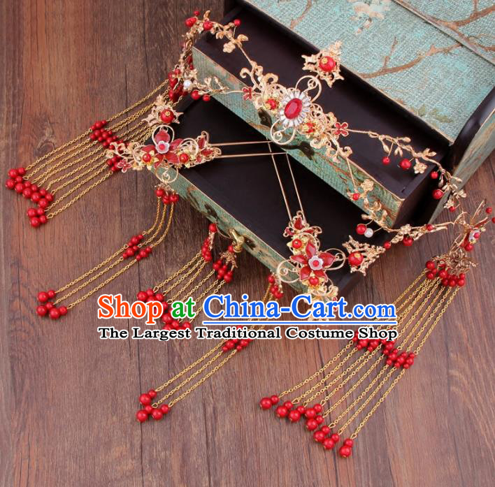 Chinese Ancient Bride Hair Clasp XiuHe Suit Hair Accessories Complete Set Hanfu Handmade Hairpins for Women