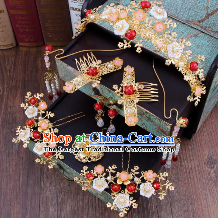 Chinese Ancient Bride Hair Accessories Complete Set XiuHe Suit Hair Clasp Hanfu Handmade Hairpins for Women