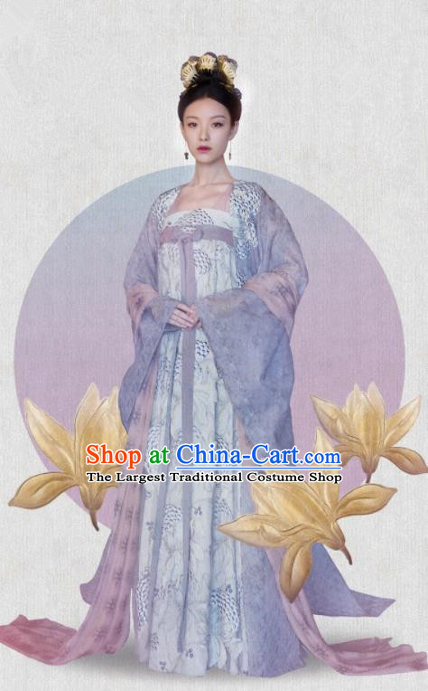 The Rise of Phoenixes Drama Clothing Chinese Ancient Tang Dynasty Princess Costumes and Headpiece Complete Set