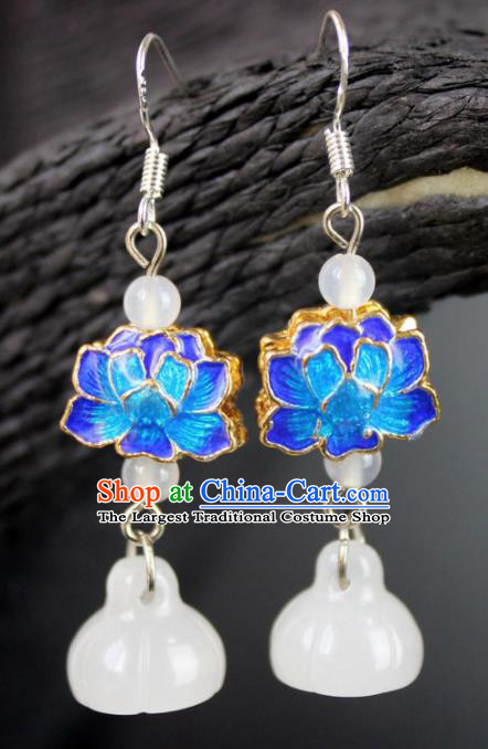 Top Grade Chinese Jewelry Accessories Wedding Hanfu Blueing Lotus Earrings for Women