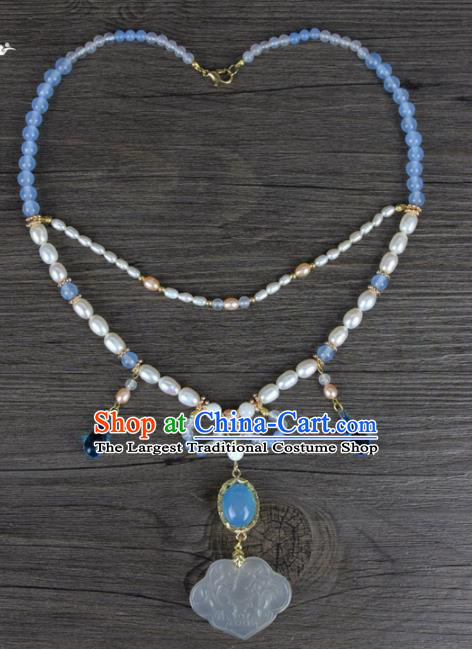 Top Grade Chinese Handmade Jewelry Accessories Hanfu Chalcedony Necklace for Women