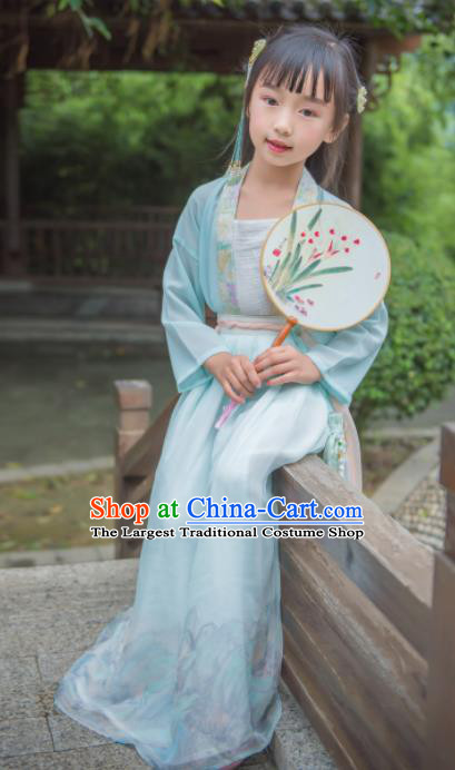 Traditional Chinese Ancient Costumes Song Dynasty Princess Blue Hanfu Dress for Kids