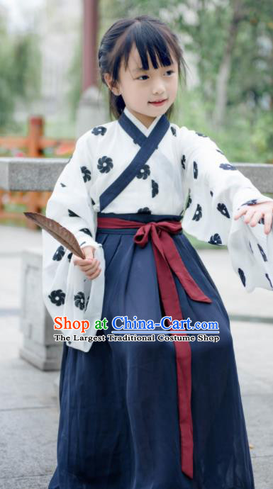 Traditional Chinese Ancient Costumes Jin Dynasty Princess Navy Hanfu Dress for Kids