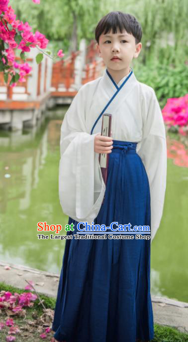 Traditional Chinese Ancient Costumes Han Dynasty Scholar Hanfu Clothing for Kids