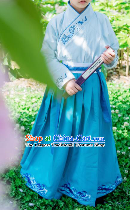 Traditional Chinese Ancient Swordsman Costumes Han Dynasty Scholar Hanfu Clothing for Kids