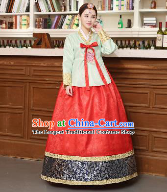 Korean Traditional Costumes Asian Korean Hanbok Palace Bride Embroidered Green Blouse and Red Skirt for Women