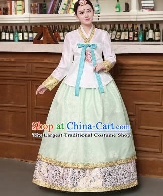 Korean Traditional Costumes Asian Korean Hanbok Palace Bride Embroidered White Blouse and Green Skirt for Women
