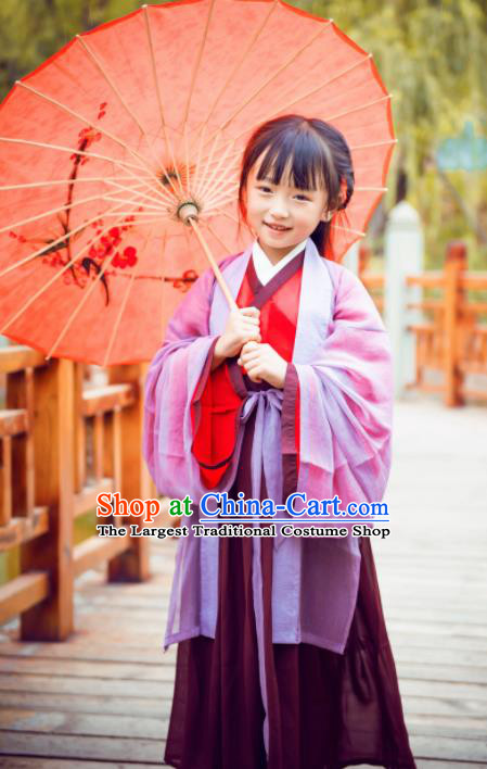 Traditional Chinese Ancient Swordsman Costumes Ming Dynasty Princess Clothing for Kids