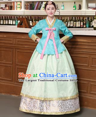 Korean Traditional Costumes Asian Korean Hanbok Palace Bride Embroidered Blue Blouse and Green Skirt for Women